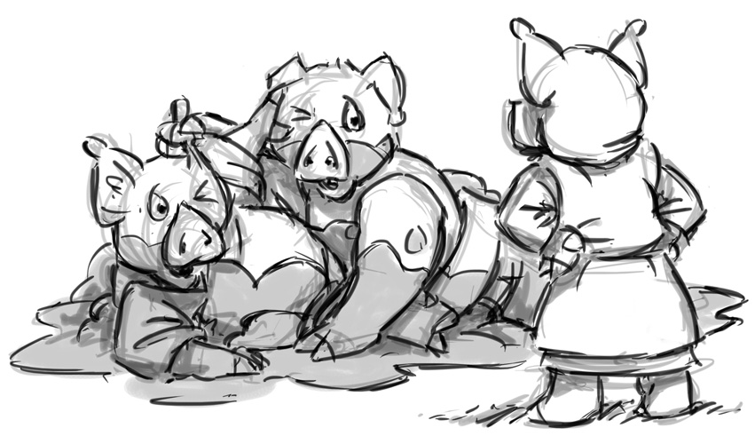 Rough version of Rusty and Hamish getting into trouble from the 3 Little Pigs