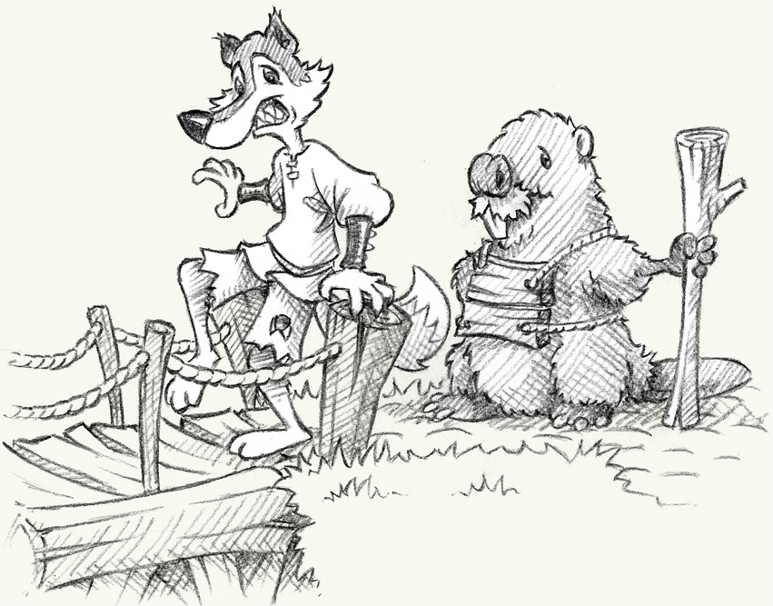 Mr Wolf stepped onto the bridge and the logs beneath his feet shifted. Suddenly he wasn't so eager to cross